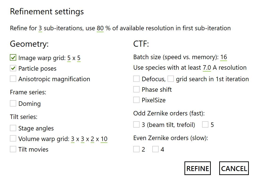 M: refinement settings